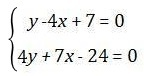 Calculation of the system of two equations in exercise 1
