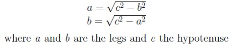 Formula for calculating one leg from the other and the hypotenuse by the Pythagorean theorem