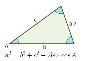 Formula for the perimeter of a scalene triangle knowing two sides and an angle