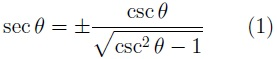 Formula for the relationship of secant to cosecant