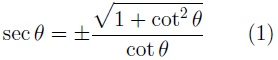 Formula for the relationship of secant to cotangent