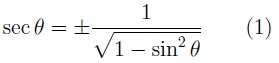 Formula for the relationship of secant to sine