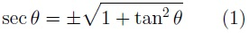 Formula for the relationship of secant to tangent