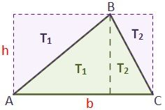Drawing of the triangle with known base and height for your demonstration